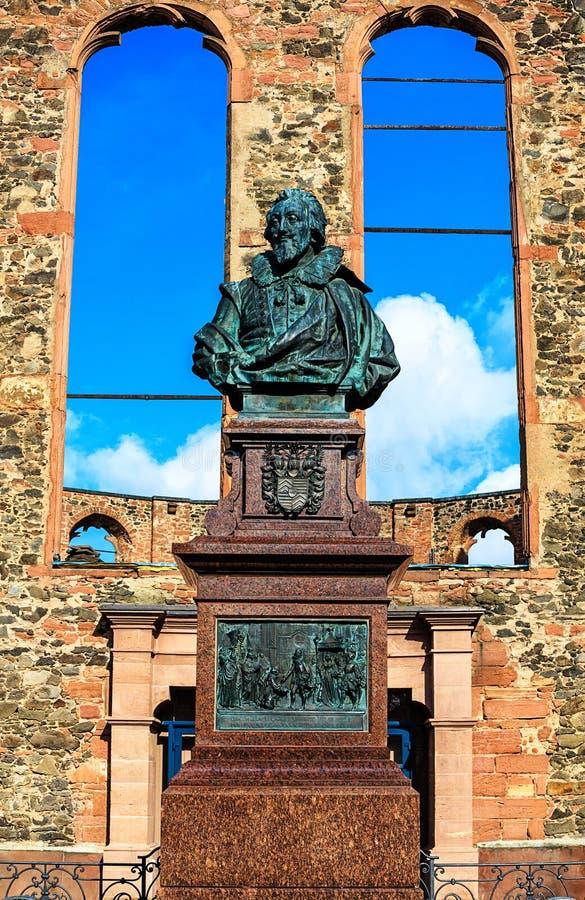 非战纪念华隆人的荷兰教会在哈瑙,在法兰克福附近 库存图片