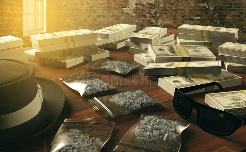 非法企业药物和美元,黑手党毒贩 库存图片