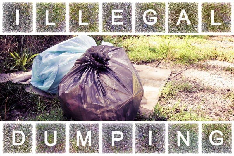 非法倾销在自然-垃圾袋在自然离开 库存照片