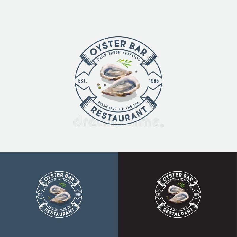 非法剥夺酒吧商标 海鲜酒楼象征 信件和牡蛎的水彩例证在圈子的 库存例证