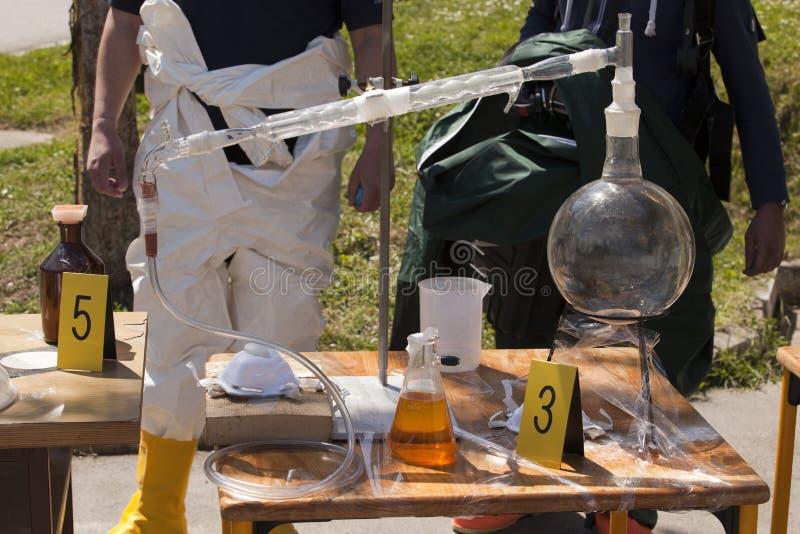 非法药物实验室 免版税库存照片