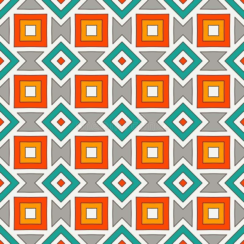非洲与几何图的样式无缝的样式 美国当地设计背景 种族和部族主题 皇族释放例证