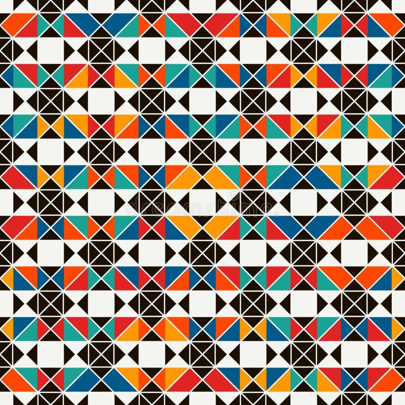 非洲与抽象图的样式无缝的表面样式 明亮的种族印刷品 背景几何装饰物 向量例证