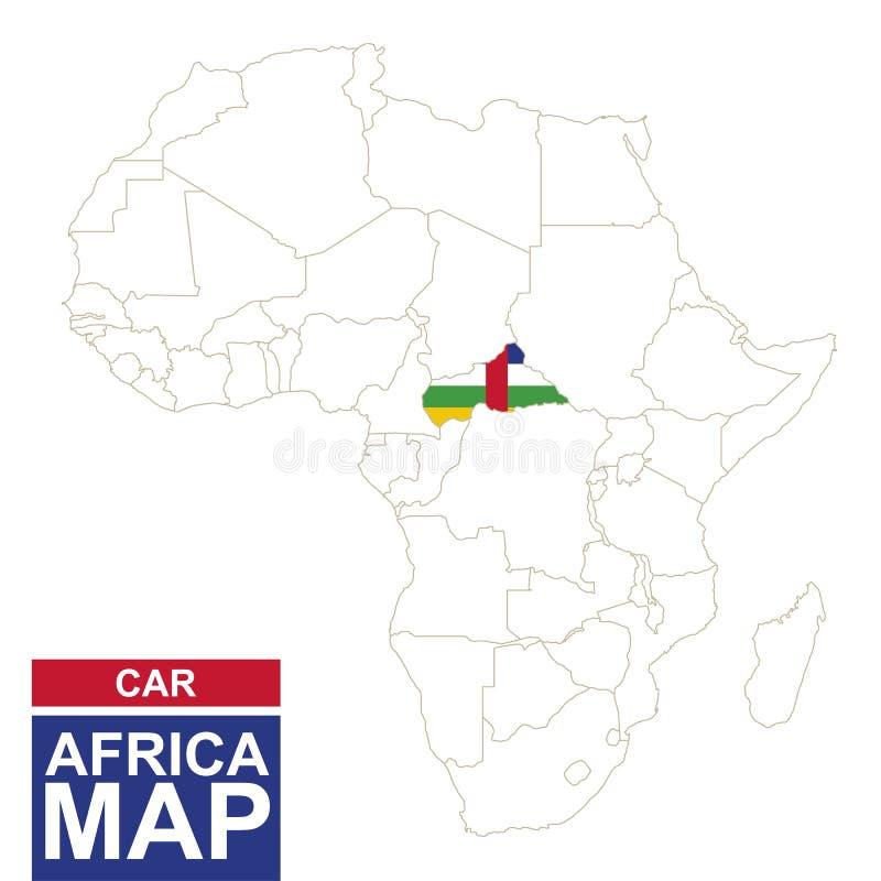非洲与被突出的中非共和国的等高线图 皇族释放例证