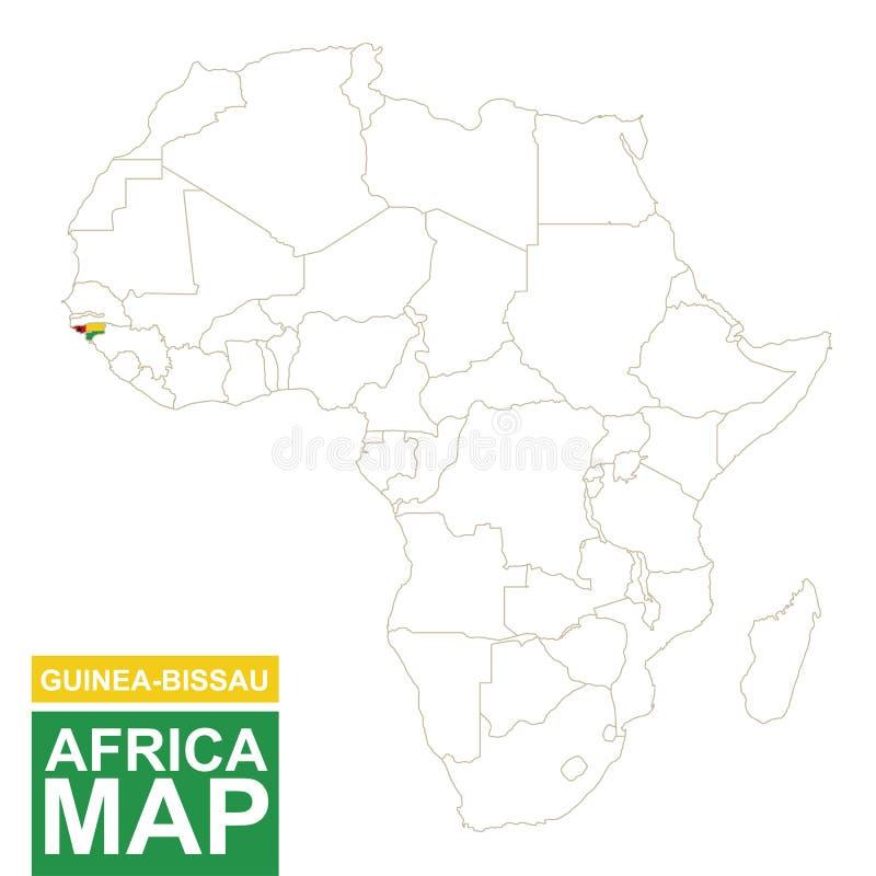 非洲与被突出的几内亚比绍的等高线图 皇族释放例证