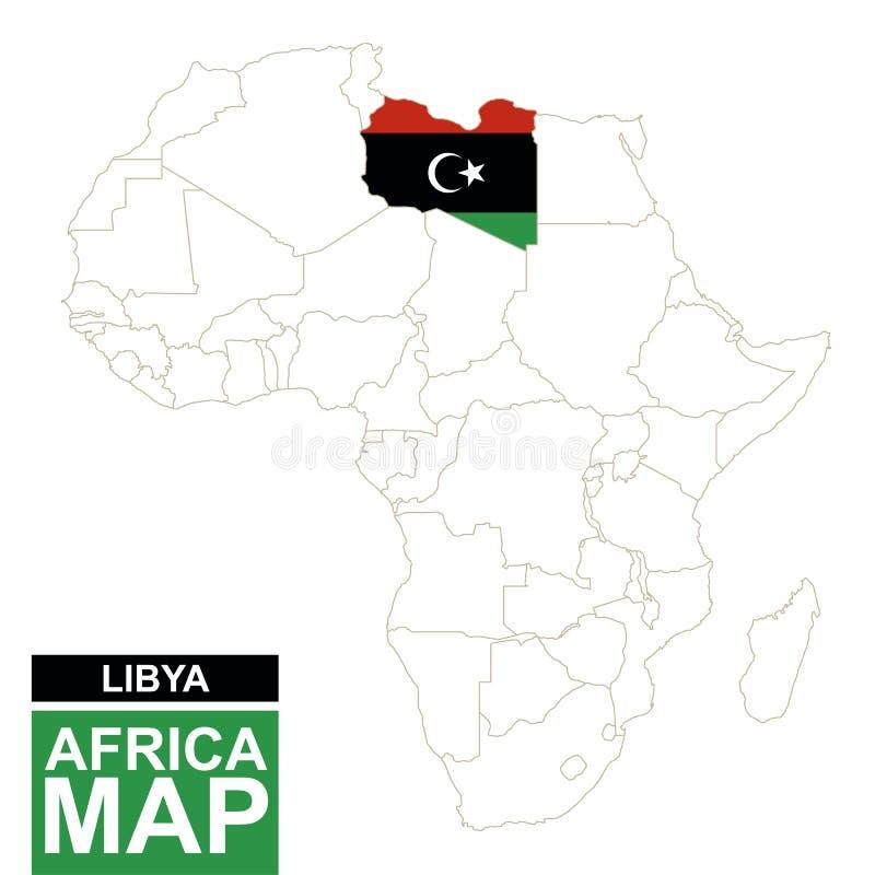 非洲与被突出的利比亚的等高线图 库存例证