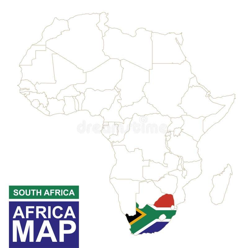 非洲与被突出的南非的等高线图 库存例证