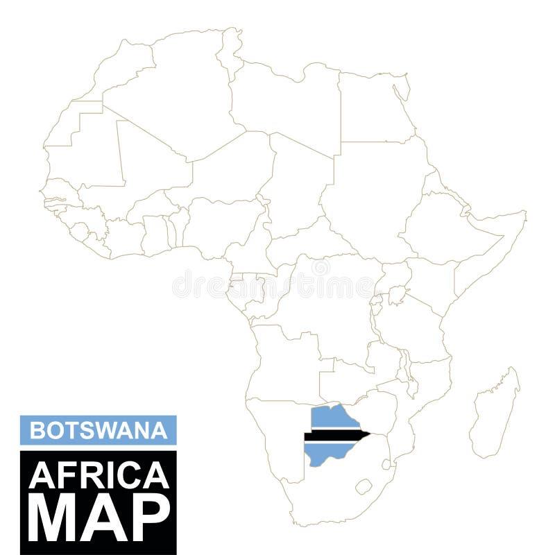 非洲与被突出的博茨瓦纳的等高线图 向量例证