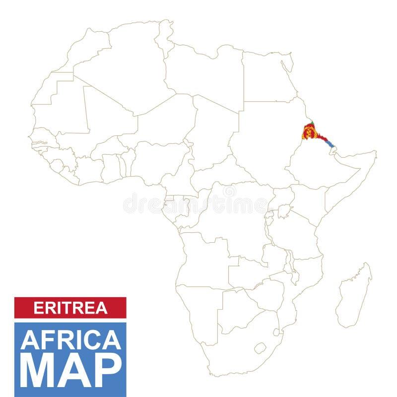 非洲与被突出的厄立特里亚的等高线图 库存例证
