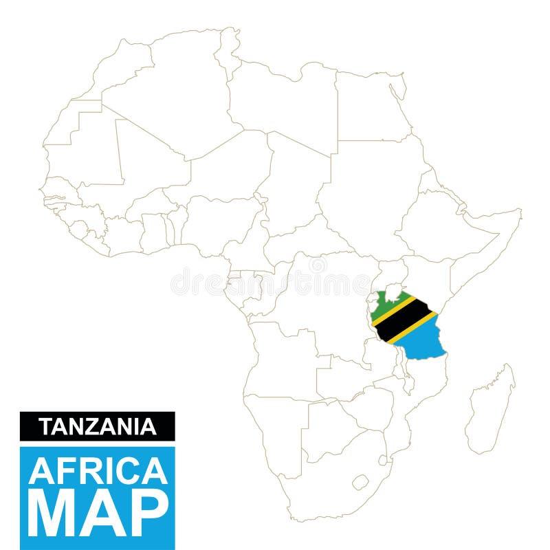 非洲与被突出的坦桑尼亚的等高线图 皇族释放例证