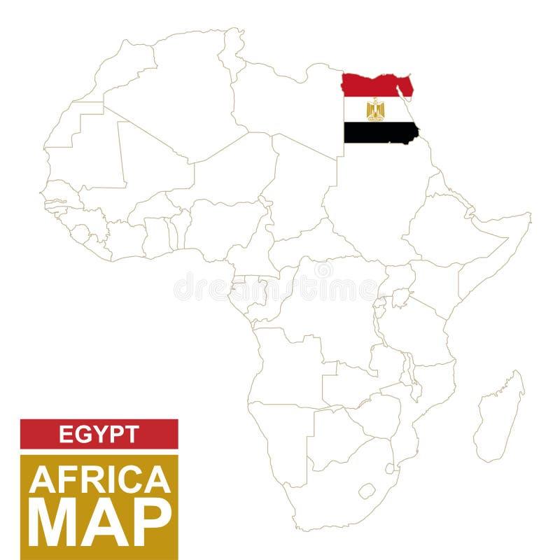 非洲与被突出的埃及的等高线图 皇族释放例证