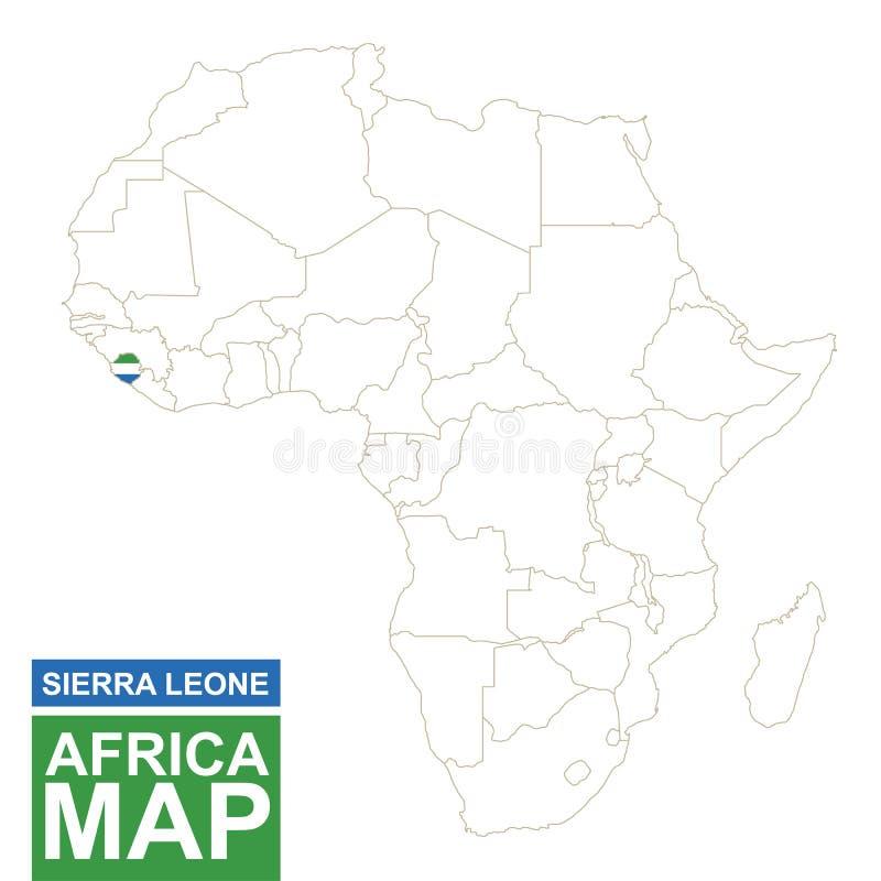 非洲与被突出的塞拉利昂的等高线图 库存例证