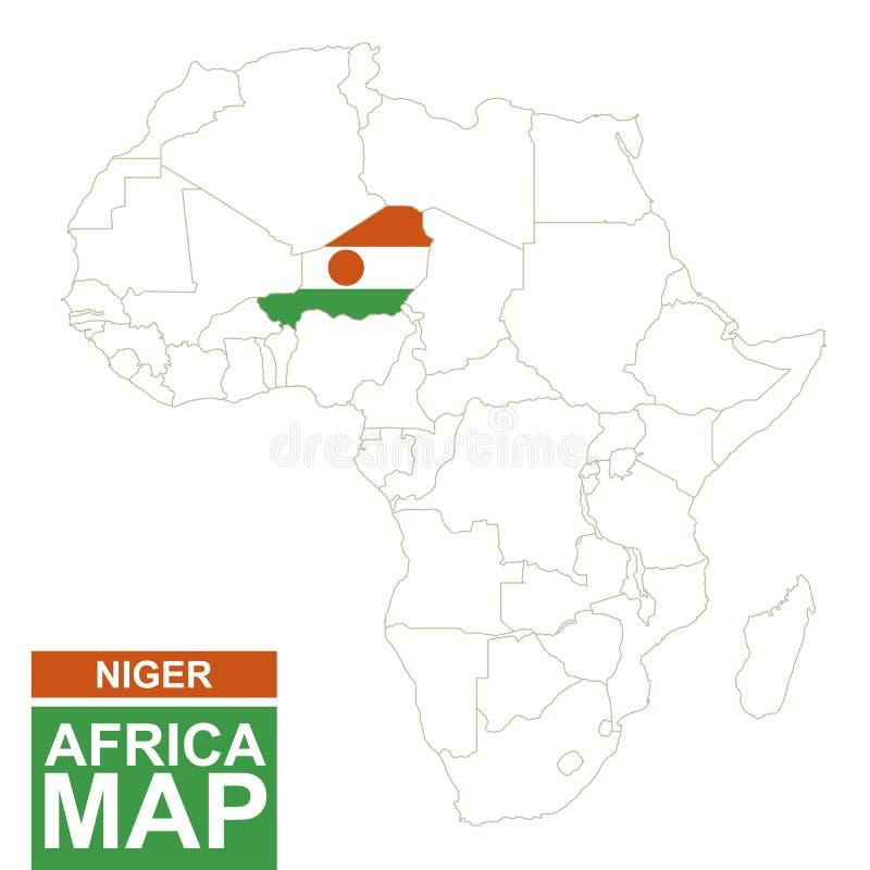 非洲与被突出的尼日尔的等高线图 向量例证