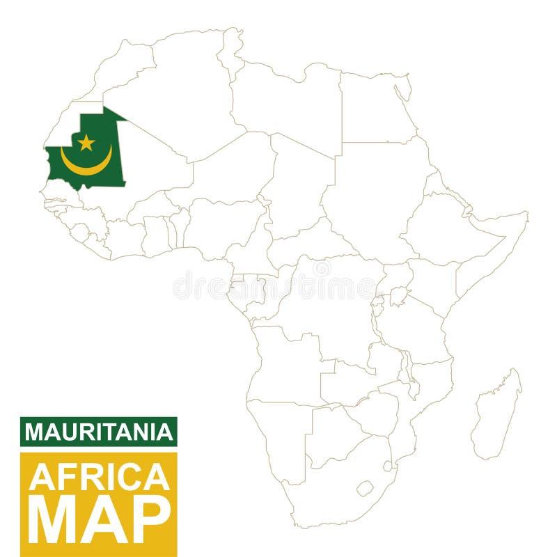 非洲与被突出的毛里塔尼亚的等高线图 皇族释放例证