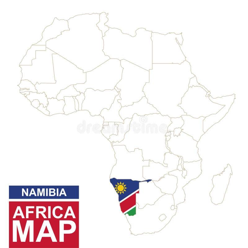 非洲与被突出的纳米比亚的等高线图 库存例证