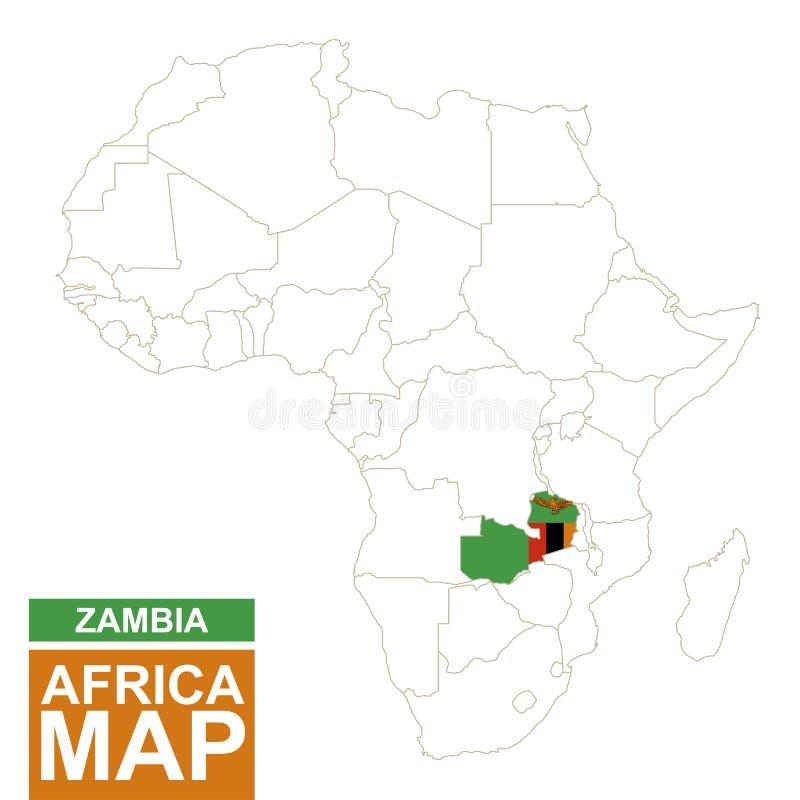 非洲与被突出的赞比亚的等高线图 向量例证
