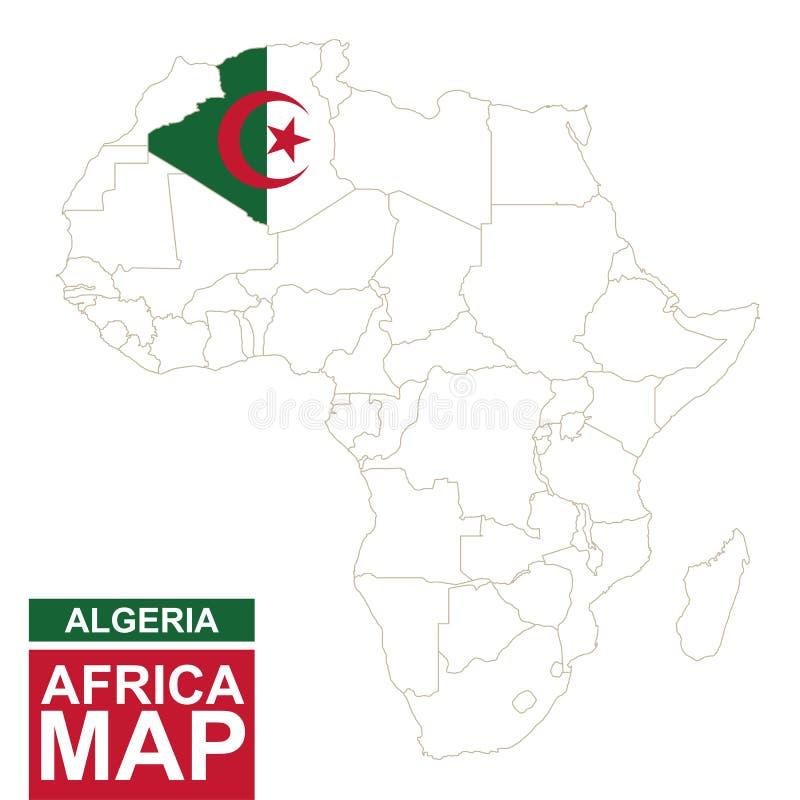 非洲与被突出的阿尔及利亚的等高线图 向量例证