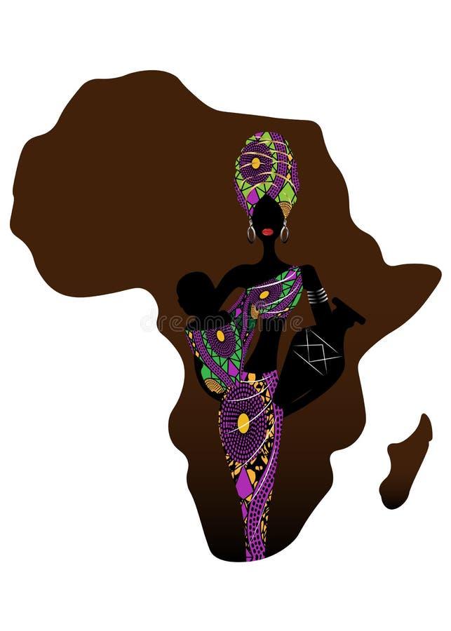 非洲产科象,人口增长率 是一个年轻蓬松卷发母亲运载的婴孩 一名美丽的非洲妇女的剪影 向量例证