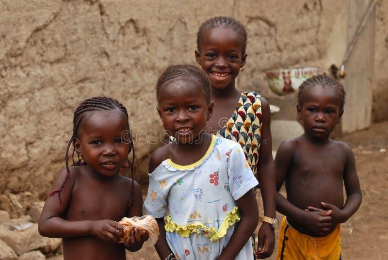 非洲人四女孩 免版税库存照片