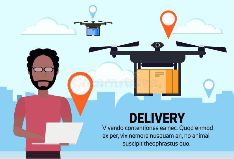 非洲人操作员寄生虫飞行geo标记交付空气包裹发货运载quadrocopter航海应用 向量例证