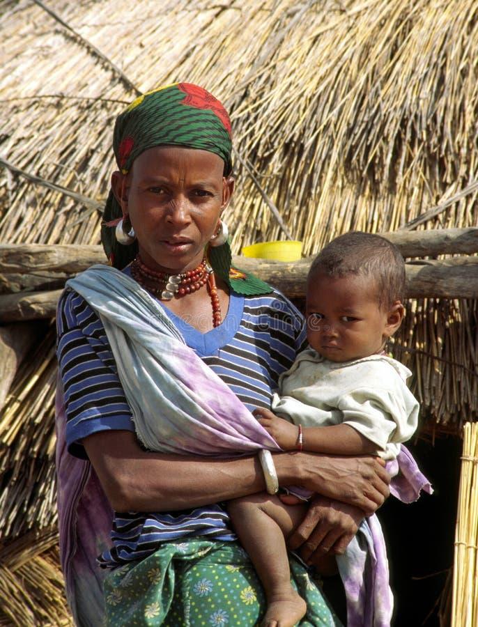 非洲儿童妇女 免版税库存照片