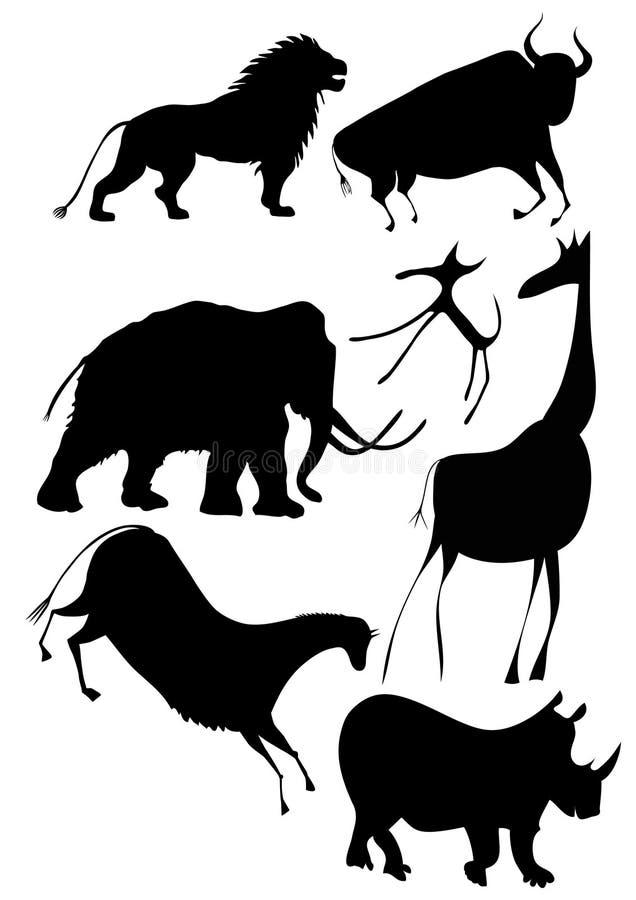 非洲动物多种向量 库存例证