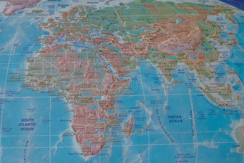 非洲和欧亚大陆世界的地图的 库存图片