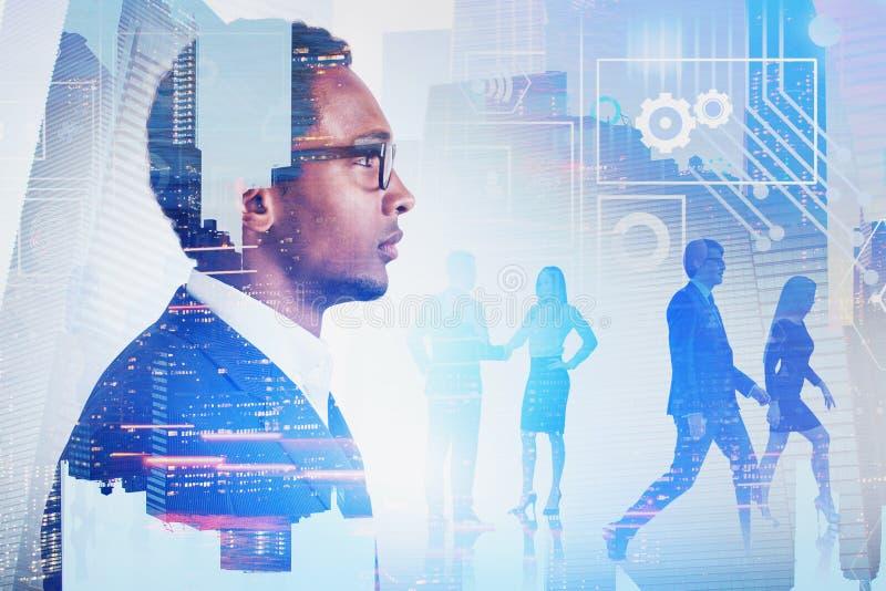 非洲商业领袖,队,数字接口 免版税图库摄影