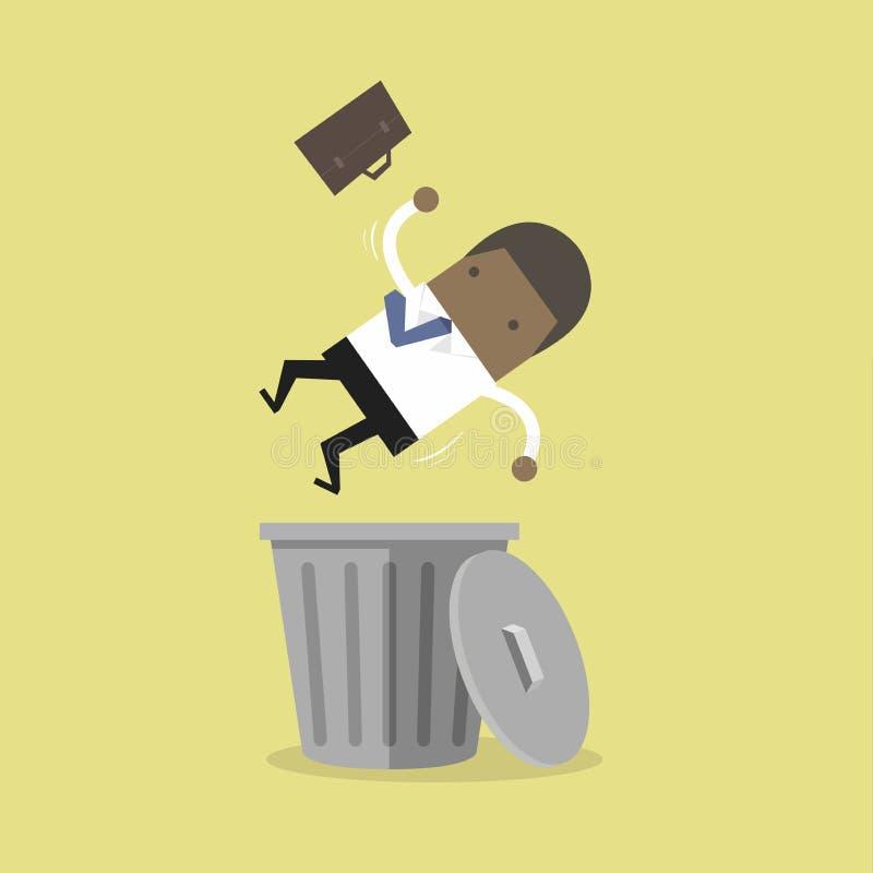 非洲商人在膝上型计算机和胜利困境,财政成功工作 非洲商人滴下了入trashcan临时解雇概念 库存例证