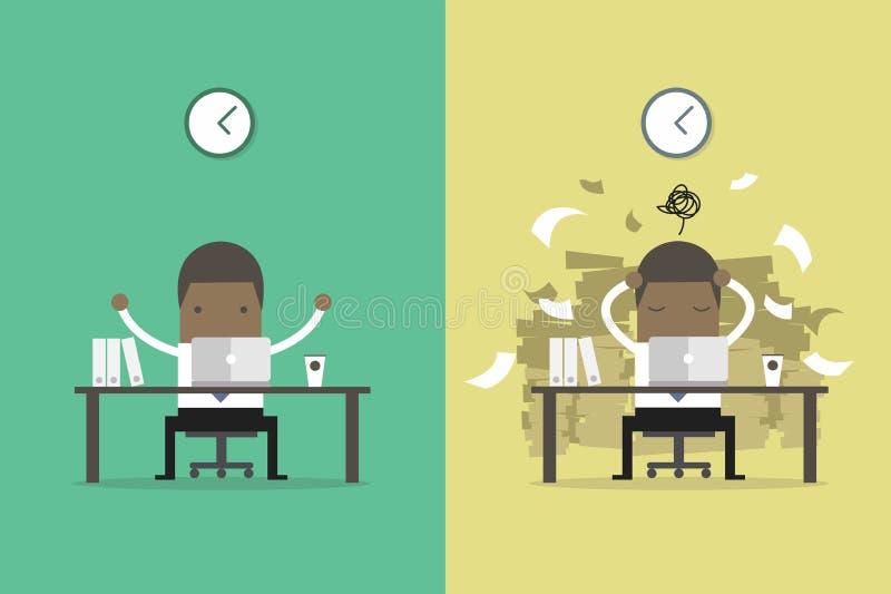 非洲商人结束工作和繁忙的商人未完成的工作 企业概念动画片 向量例证