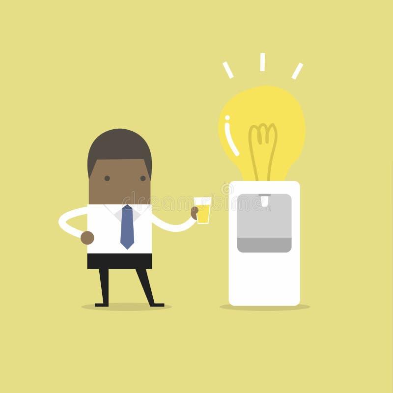 非洲商人要喝从水电灯泡致冷机的想法 皇族释放例证