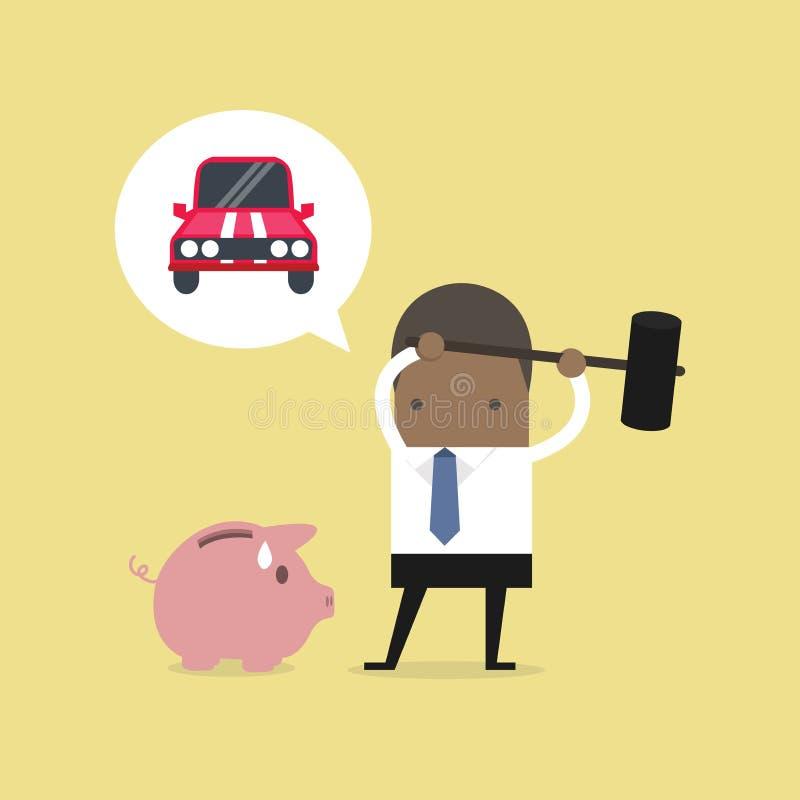 非洲商人设法刹车车的存钱罐 皇族释放例证