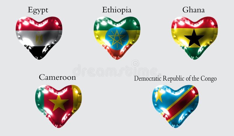 非洲国家旗子  Egipt,埃塞俄比亚,加纳,喀麦隆,一个空球的刚果民主共和国旗子在 库存例证