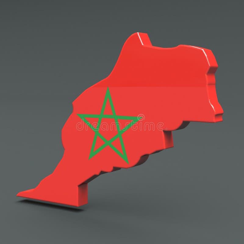 非洲国家marocco 3D旗子在灰色背景映射 库存例证