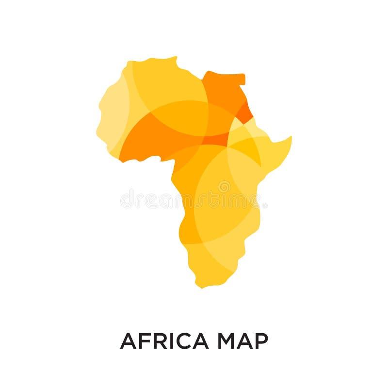 非洲在您的网的白色背景隔绝的地图商标,MOBIL 库存例证