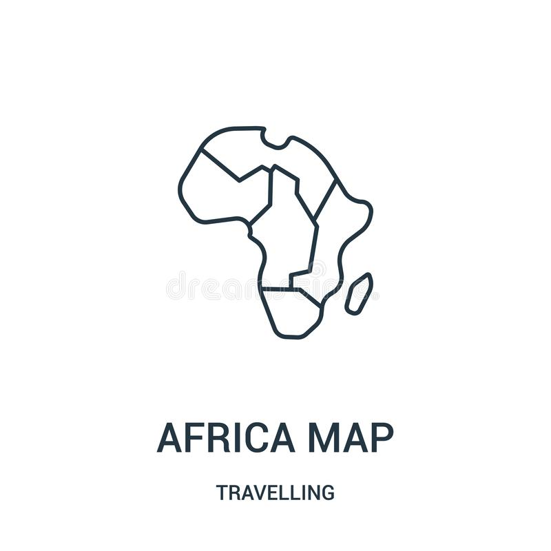 非洲地图从旅行的收藏的象传染媒介 稀薄的线非洲地图概述象传染媒介例证 r 库存例证