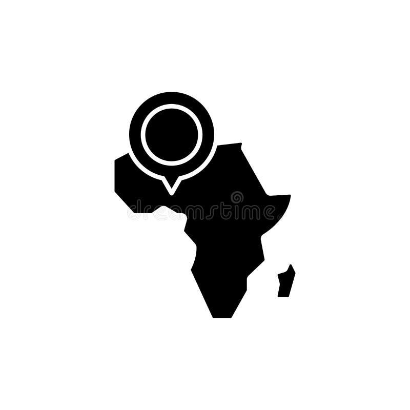 非洲地图黑色象概念 非洲地图平的传染媒介标志,标志,例证 向量例证