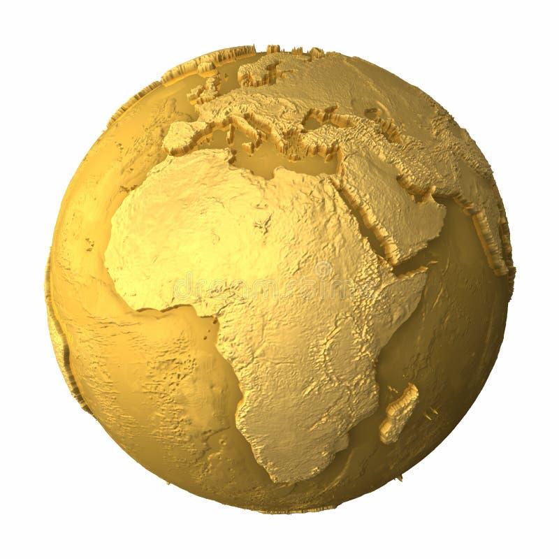非洲地球金子 向量例证