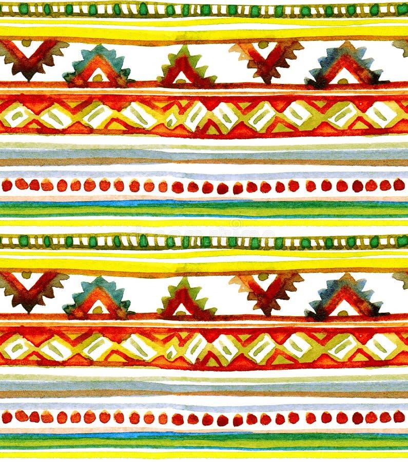 非洲夏天-部族主题 无缝的条纹背景 手画水彩 免版税图库摄影