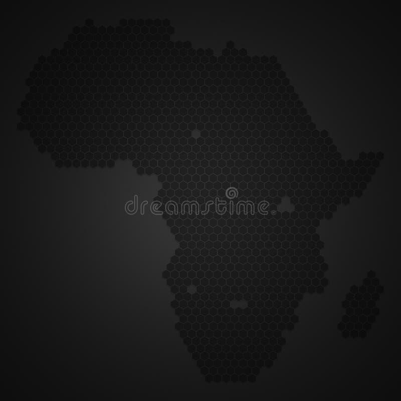 非洲大陆地图有蜂蜜蜂或蜂窝或者蜂蜜蜂房形状样式的与小插图黑暗的边界阴影 E 皇族释放例证