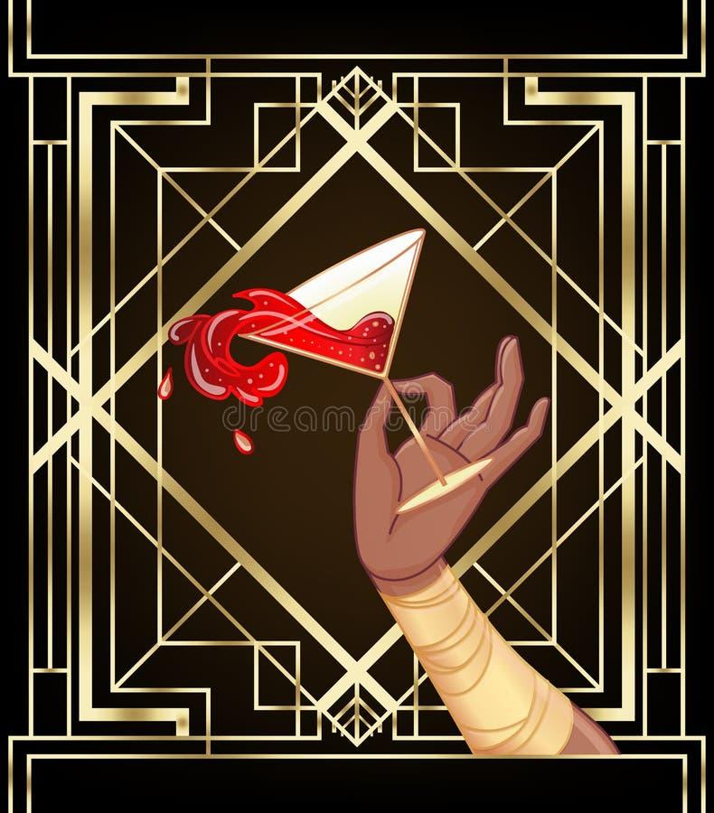 非洲女人手拿泼溅的鸡尾酒杯 20世纪20年代风格的古董邀请模板设计 向量例证