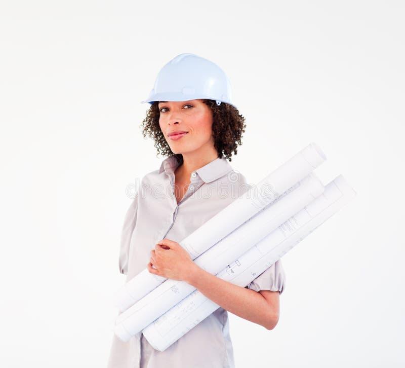 非洲女实业家确信的安全帽 库存照片
