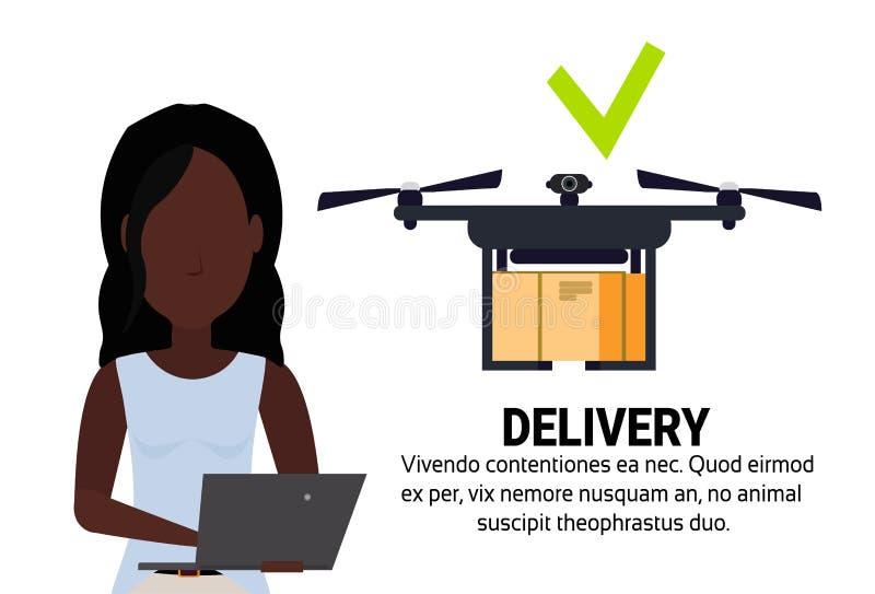 非洲妇女操作员寄生虫飞行geo标记交付空气包裹流动应用发货运载quadcopter航海 库存例证