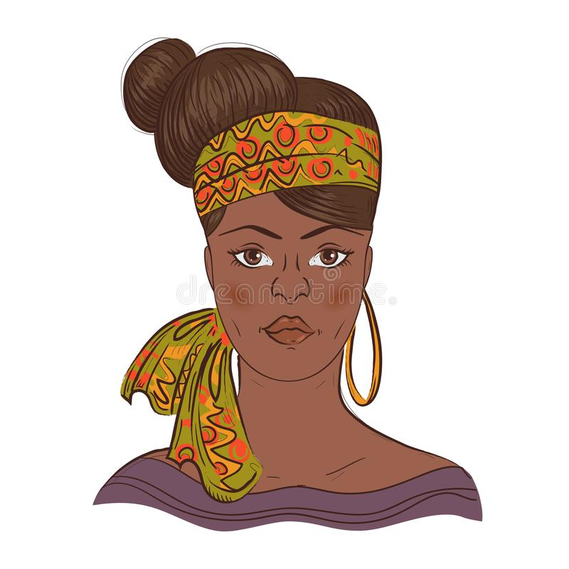 非洲妇女画象有减速火箭的发型的 皇族释放例证