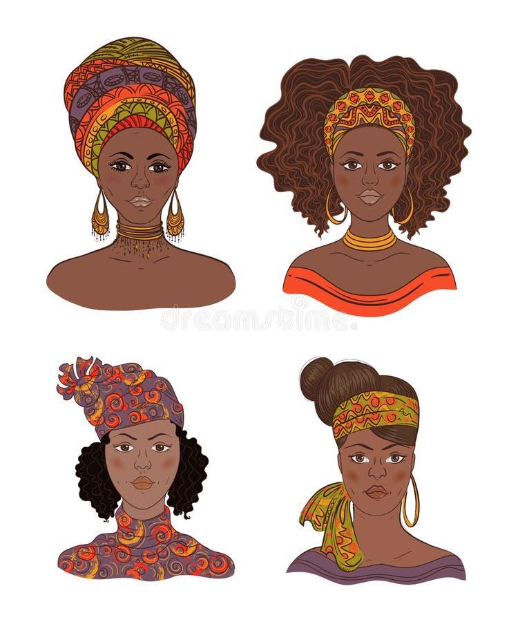 非洲妇女画象的汇集  库存例证