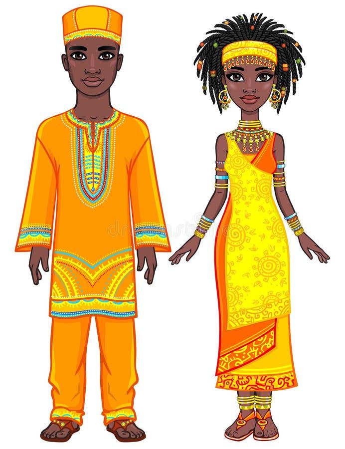 非洲家庭的动画画象在明亮的种族衣裳的 被晒黑的皮肤 皇族释放例证