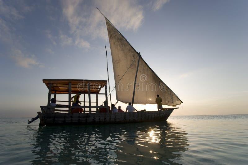 非洲小船航行桑给巴尔 库存照片
