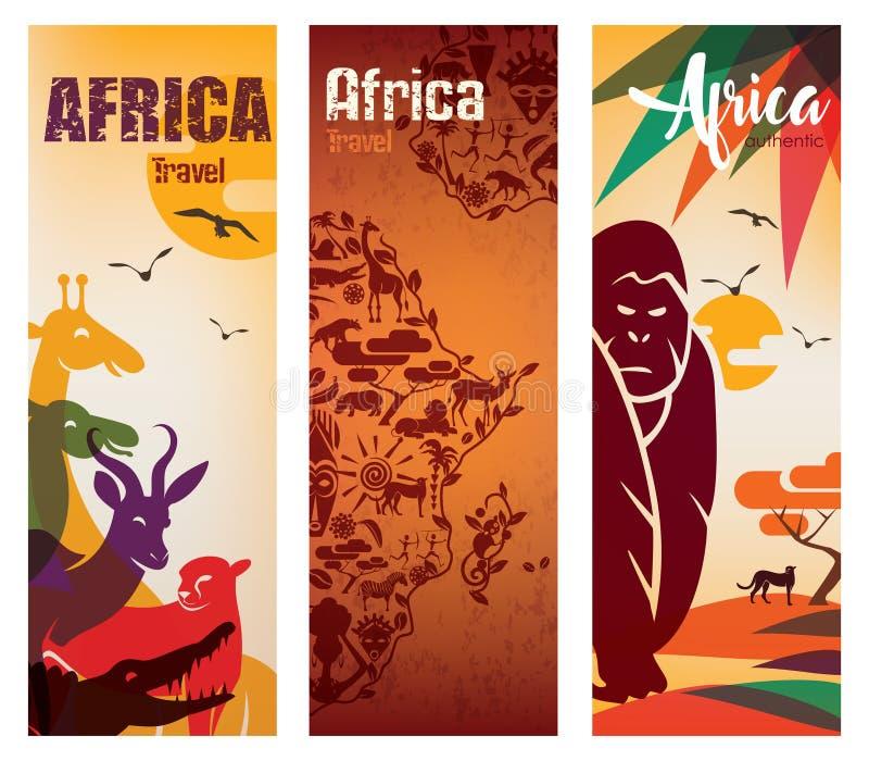 非洲旅行背景套飞行物模板 库存例证