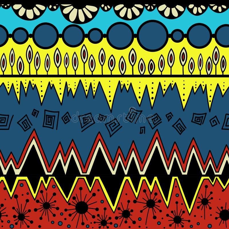 非洲样式colormulticolor部族无缝的样式 阿兹台克花梢抽象几何艺术印刷品 种族行家 向量例证