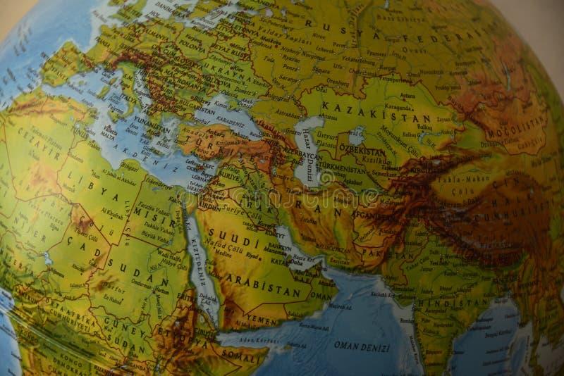 非洲欧罗巴亚洲-高度详细的政治地图 库存照片